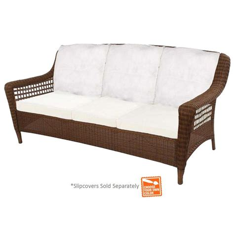 hton bay brown wicker outdoor patio sofa