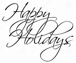 Happy Holidays Clip Art Black and White – Cliparts