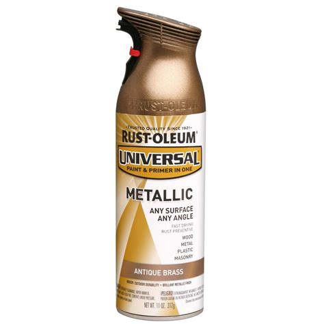rust oleum universal 11 oz all surface metallic antique brass spray paint and primer in one 6