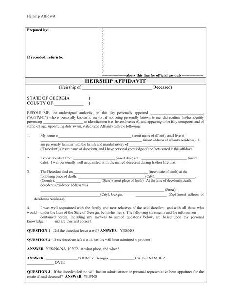georgia small estate affidavit form download free affidavit forms form download