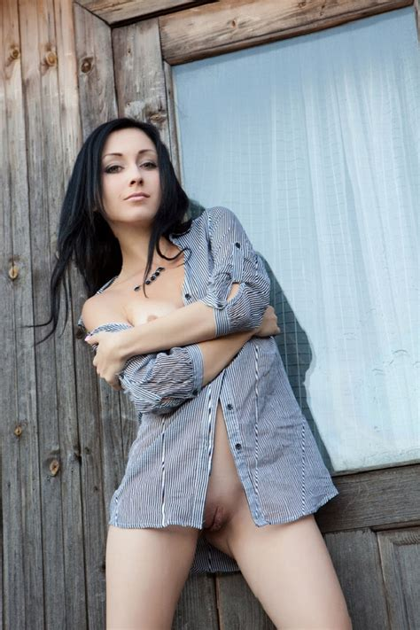 Naked Brunette In A Mans Shirt In An Old House Russian