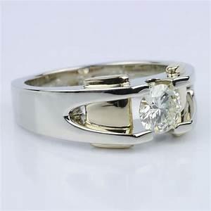 custom two tone 14k men39s wedding ring With custom mens wedding rings