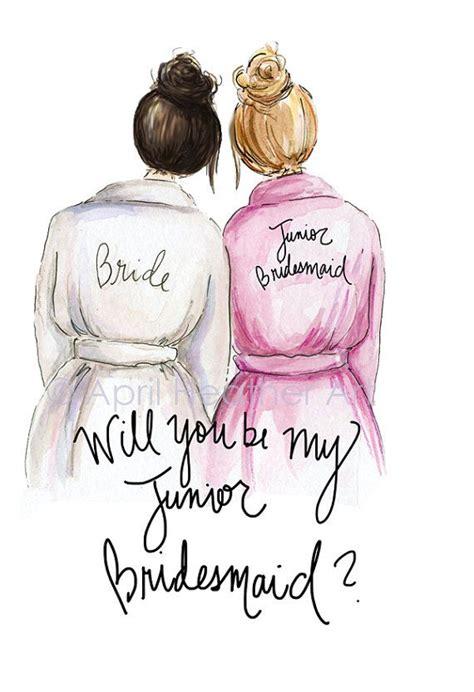 junior bridesmaid  brunette bride blonde jr bridesmaid