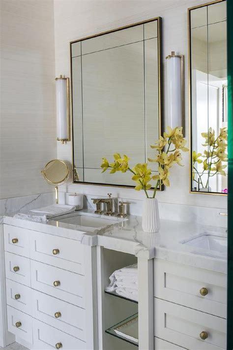 brass vanity mirror  calliope tall bath lights
