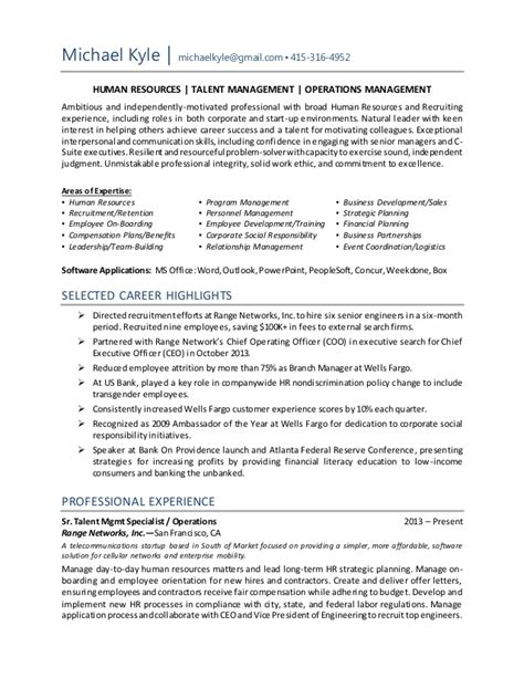Resume Sle Hr Executive by Michael Kyle Resume Hr Operations Recruiting Manager