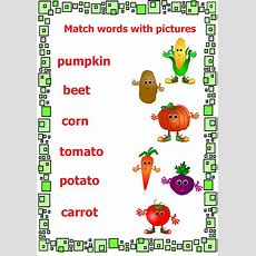 Vegetables Worksheet#match Pictures And Words#early English Learning  Vegetables Flashcards