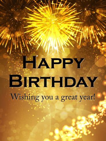 wishing   great year happy birthday celebration card