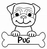 Pug Coloring Pages Cute sketch template