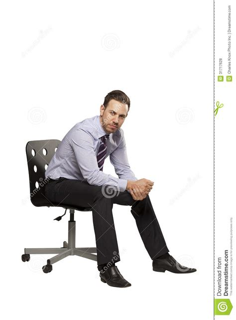 Inviting Business Man Sitting On Chair Stock Photo Image