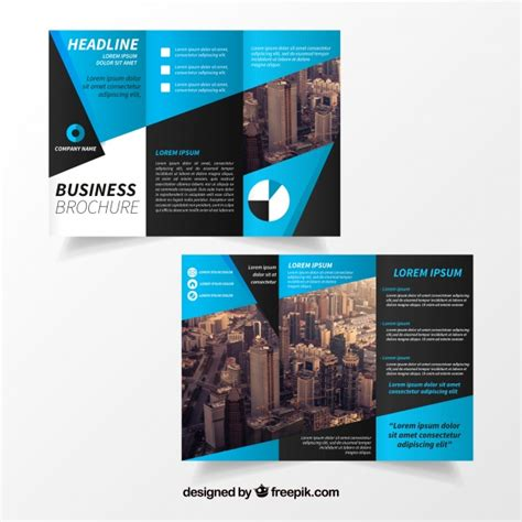 Blue Trifold Brochure Template Vector