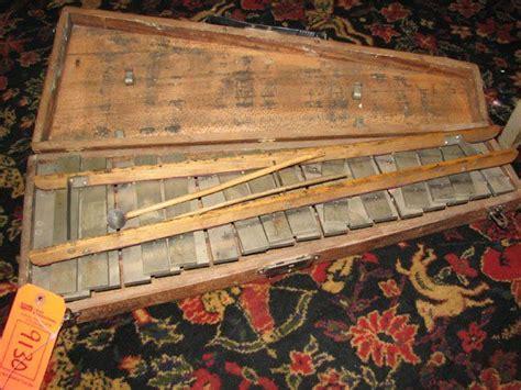 antique xylophone  wood case lot  wood