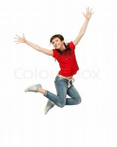 Bright picture of happy jumping teenage girl | Stock Photo ...