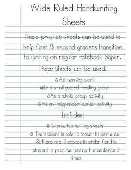wide ruled handwriting practice sheets  ashleigh marion tpt