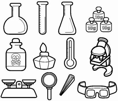 Chemistry Coloring Instruments Science Cartoon Pages Drawings