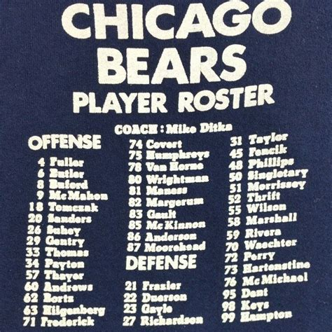 1985 Chicago Bears Roster Hoodie Available On Etsy At