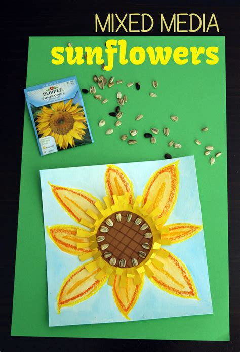 mixed media sunflower art project   takes