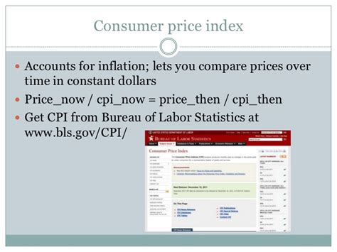 bureau of labor statistics consumer price index math and data for business journalism students by steve doig