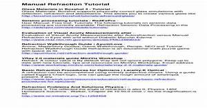 Manual Refraction Tutorial