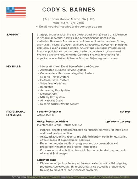 Military Resume: Examples Template Free Download