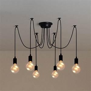 Luminaire Suspension Design Italien : e27 lustre lampe de 6 t te douille suspendu plafonnier ~ Carolinahurricanesstore.com Idées de Décoration
