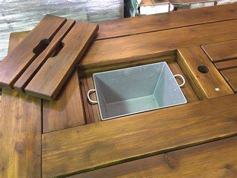 Cedar Cooler Table With Galvanized Ice Buckets Hidden