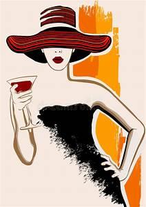 pretty woman with large hat having cocktail stock vector With robe de cocktail combiné avec acheter un chapeau