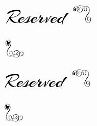 Printable Reserved Signs - Best Sign 2018