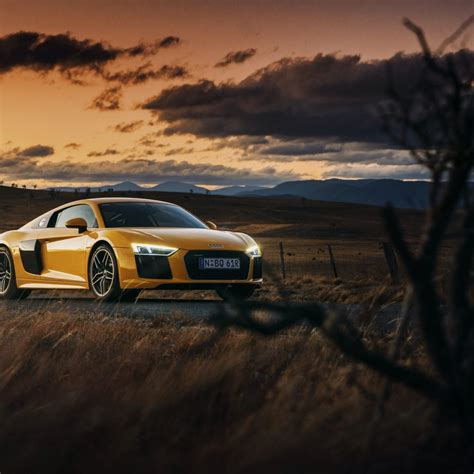 Audi R8 V10 Yellow Car At Sunset 4k Desktop Wallpaper