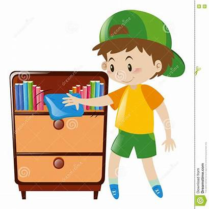 Cleaning Shelf Boy Books