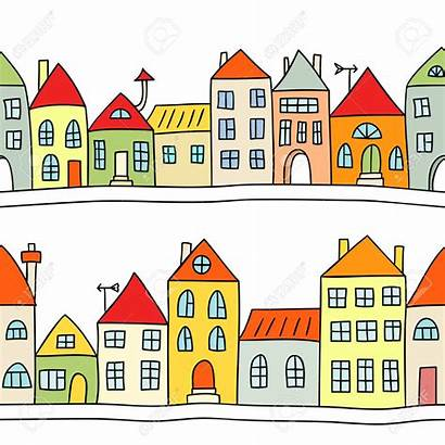 Houses Row Clipart Background Illustration Terraced Vector