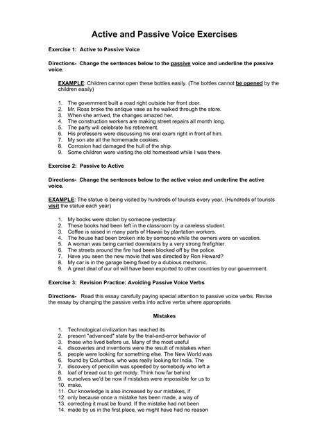 Resume Active Vs Passive Voice by Active Passive Sentences Worksheet Abitlikethis