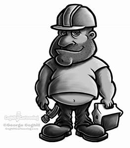 Fat Construction Worker sketch - Coghill Cartooning ...