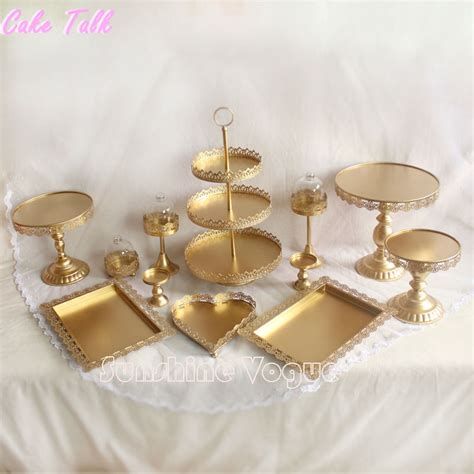 Set Of 12 Pieces Gold Cake Stand Wedding Cupcake Stand Set Glass Dome Crystal Candy Bar