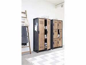 Schrank Metall Holz : schrank im industriedesign kleiderschrank mit sechs t ren aus metall und holz breite 80 cm ~ Indierocktalk.com Haus und Dekorationen