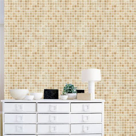 Brown Tile Effect Self Adhesive wallpapers   wallstickery.com