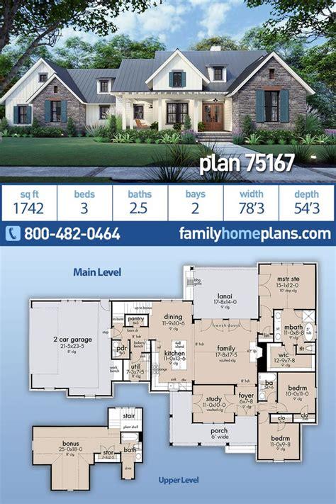 southern style house plan    bed  bath  car garage farmhouse plans family house