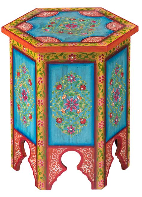 indian hand painted hexagonal coffee lamp table
