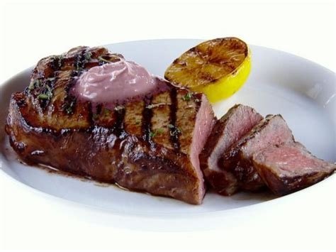 ny steak ny strip steak with red wine rosemary butter recipe giada de laurentiis food network