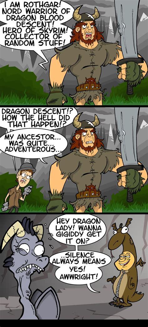 The Origin Of The Dragonborn Of Skyrim Funny Cartoons