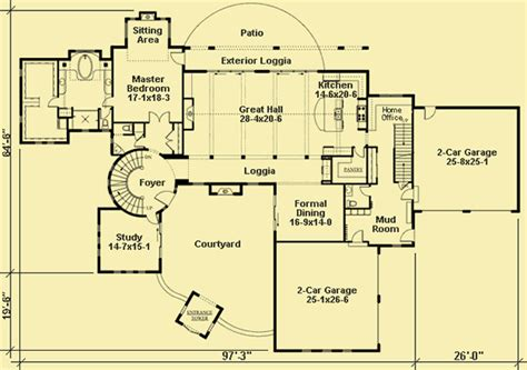 plans   large tuscan style villa   courtyard