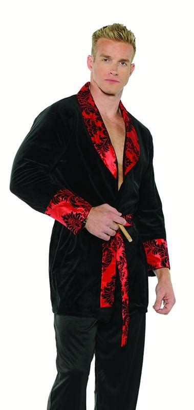 Smoking Jacket Mens Adult 60s Hugh Hefner Halloween ...