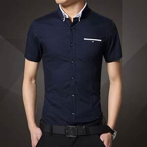 2015 New mens stylish short sleeve shirt slim fit dress ...