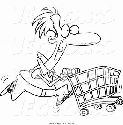 Cartoon Shopping Cart Coloring Pushing Outline Vector