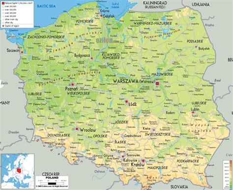 physical map  poland ezilon maps