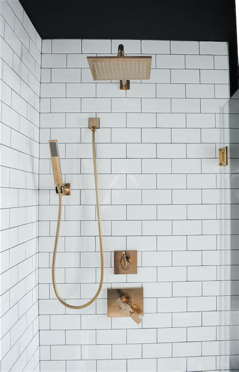 vintage brass gooseneck shower head contemporary bathroom