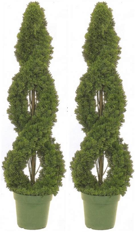 2 Cedar Outdoor Topiary Artificial Tree 4' Cypress Double