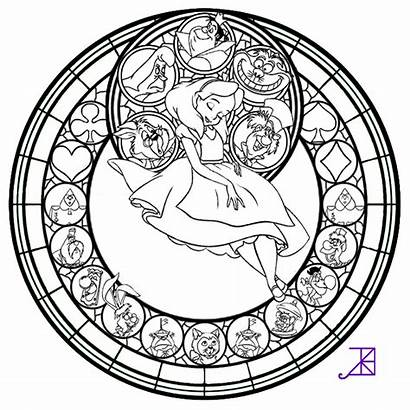 Stained Coloring Glass Pages Alice Line Window