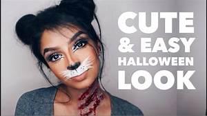 Last Minute Cute Bunny  Cat Halloween Makeup