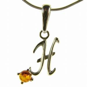 baltic amber sterling silver 925 alphabet letter h pendant With letter h pendant