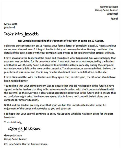 reply  patient complaint letter template